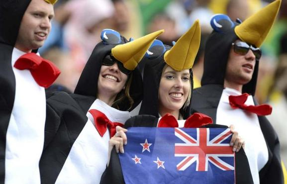 New Zealand fans attend the men's first round Group C preliminary soccer match between Brazil and New Zealand at the London 2012 Olympic Games at St James' Park in Newcastle