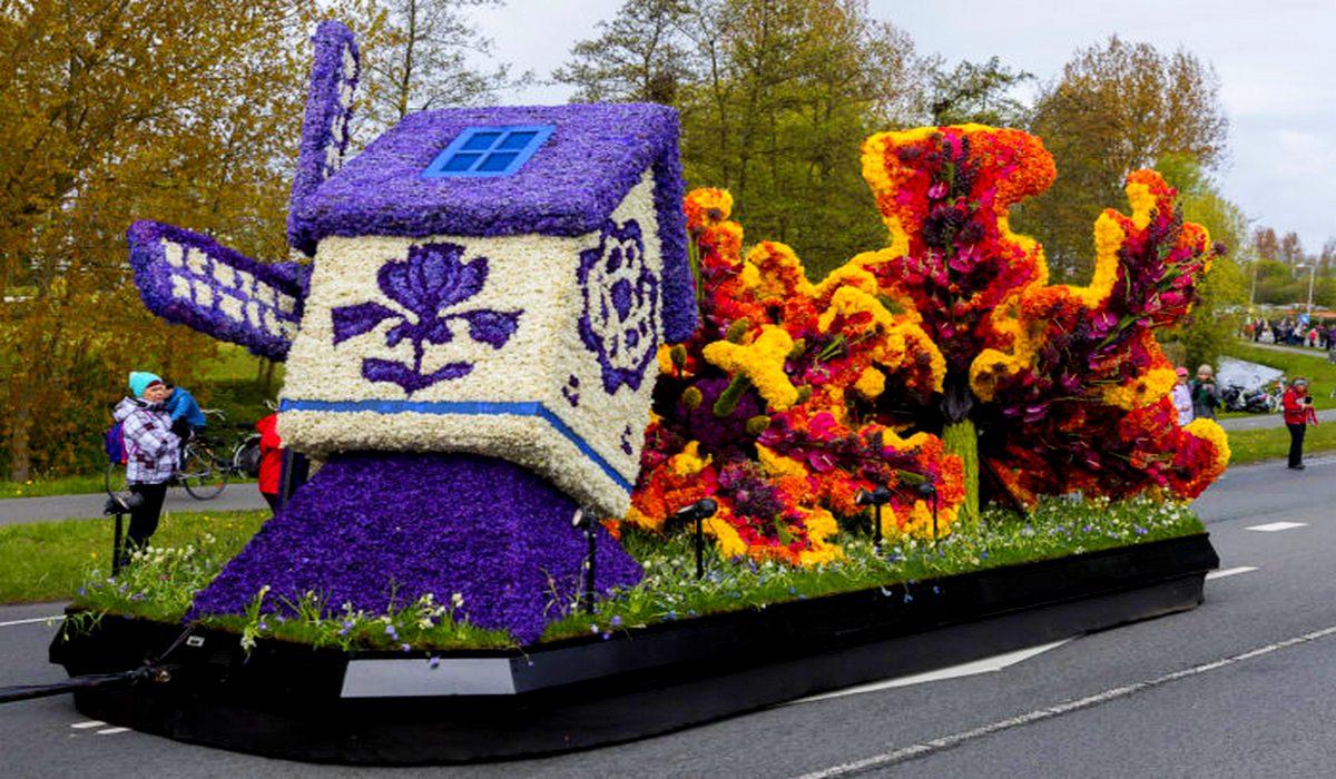парад цветов - Блюменкорсо, цветочная мельница
