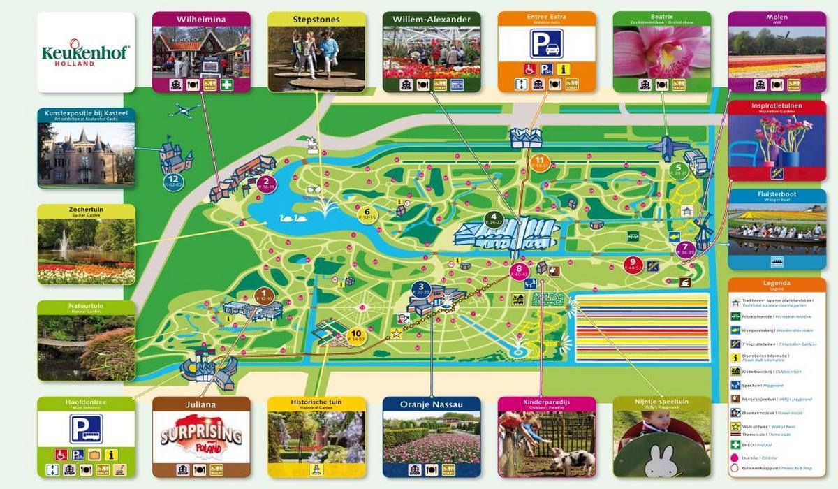 карта парка Кёкенхоф